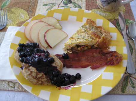 Gluten-free pancakes and home made Quiche