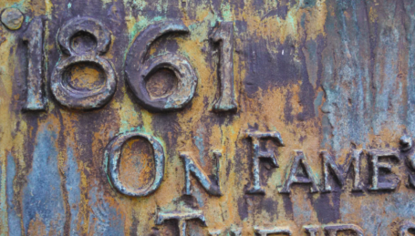 Close-up view of the Civil War Monument reveals beautiful patina