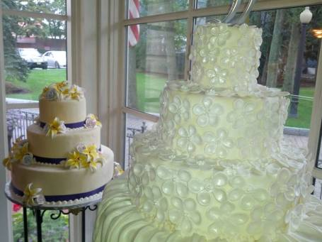 Wedding cakes in the window of the Patisserie