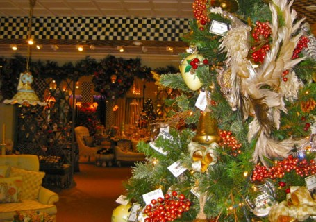 The store decorated for the holidays.