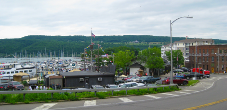 Speeding past the south end of Seneca Lake into downtown Watkins Glen