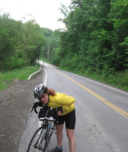 Here was one hill even Pam could not ride up