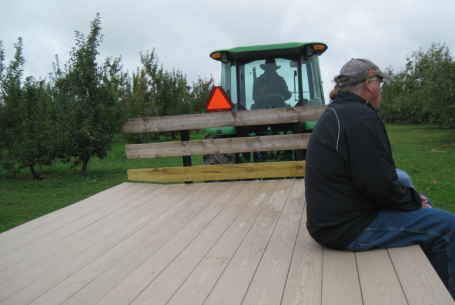 Enjoy a tractor ride out to the orchard